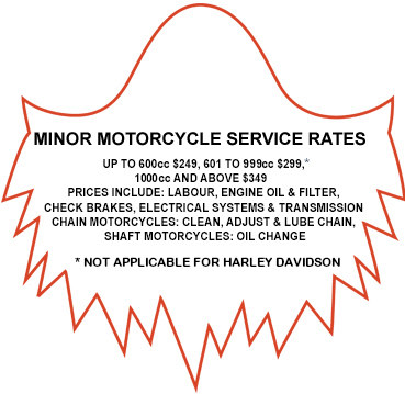 Motorcycle service rates Ghostriders Melbourne